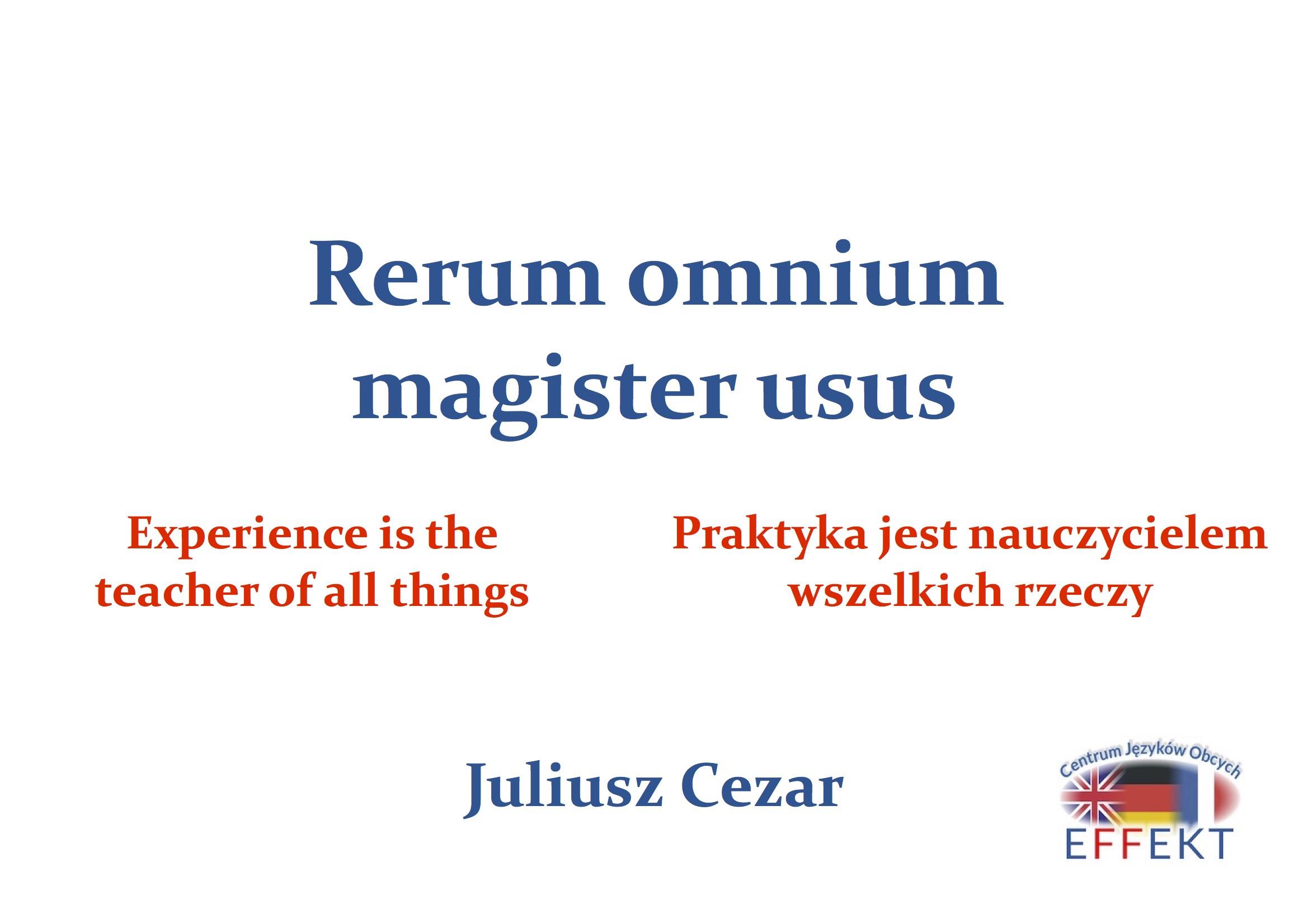 Rerum omnium magister usus